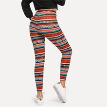 Load image into Gallery viewer, Women's Multicolor High Waist Tribal Print Leggings - Myhotleggings