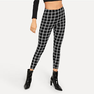 Women's Black Plaid Elegant Leggings - Myhotleggings