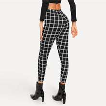 Load image into Gallery viewer, Women's Black Plaid Elegant Leggings - Myhotleggings