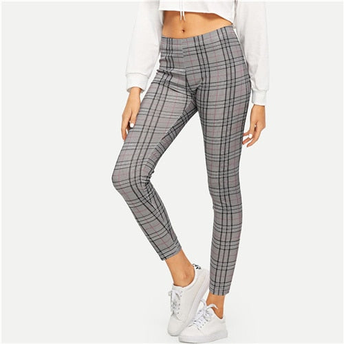 Women's Gray High Rise Plaid Casual Leggings - Myhotleggings