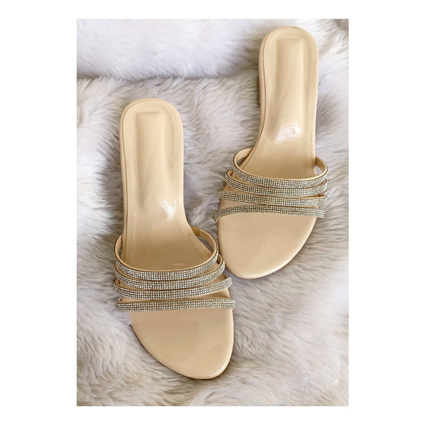 Diamantine Heeled sliders