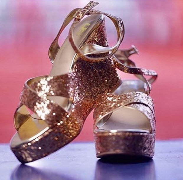 Golden shimmer wedges