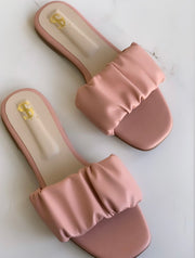 Baby Pink Gathered Sliders