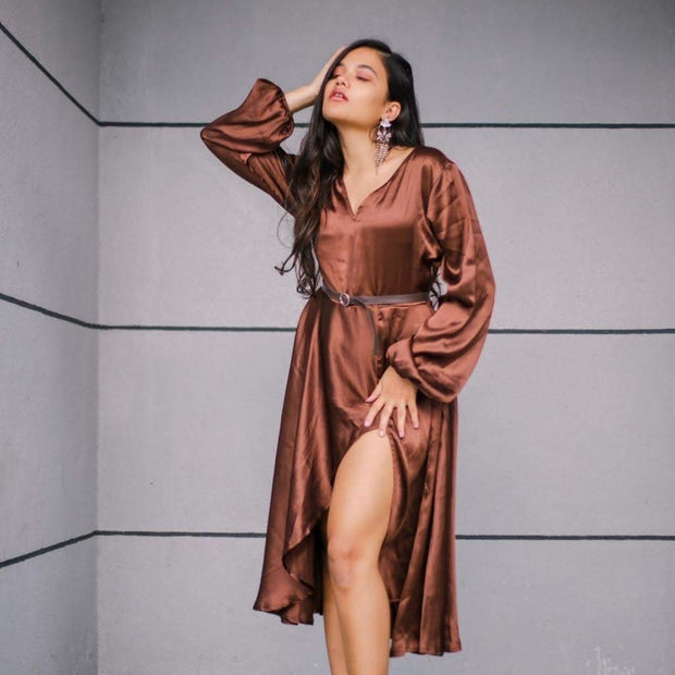 Brown Satin Slit dress