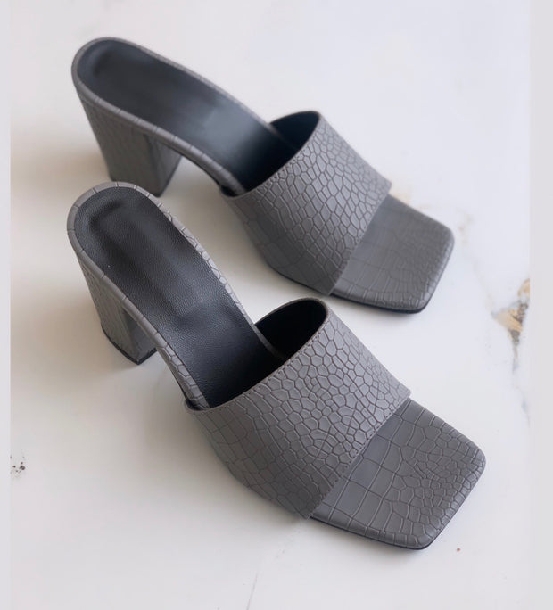Grey Textured Square Toe Mules