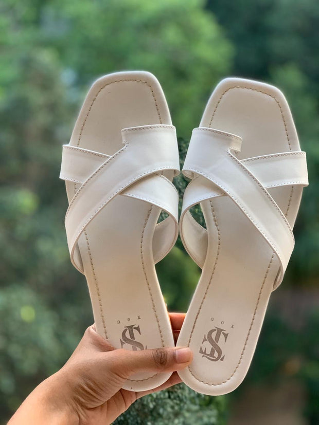 White Toe-Strappy Flats