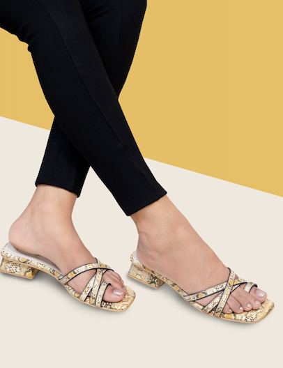 Printed strappy sliders