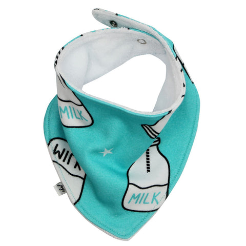 Babador Bandana Unissex Estampado Milk Bottle Fundo Azul