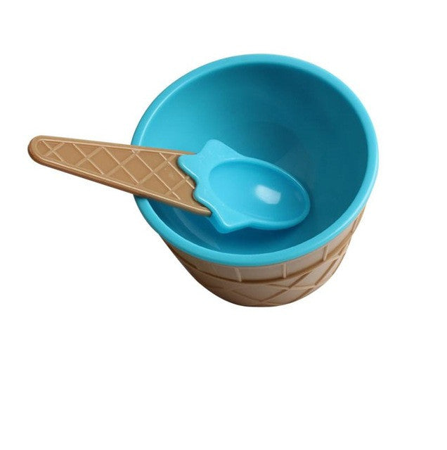 Kids Ice Cream Bowls Ice Cream Cup Couples Bowl Gifts Dessert #rj16 - Blue
