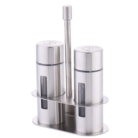 Salt Pepper Shaker Set Odor-Free Spice With Stand Condiment Box - A
