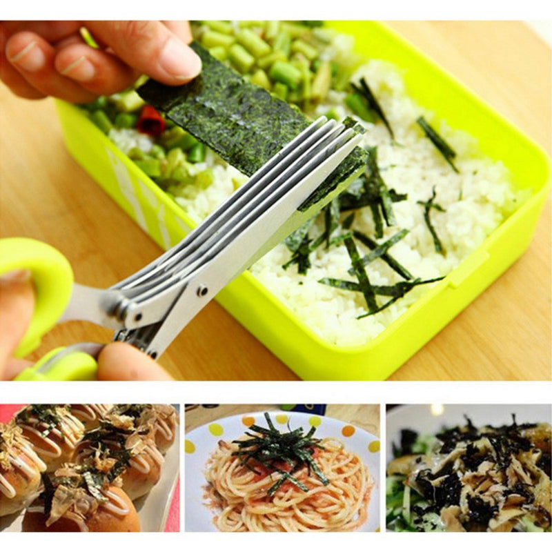 Layers Scissors Sushi Shredded Scallion Cut Herb Spices Scissors - Fruit & Vegetable Tools