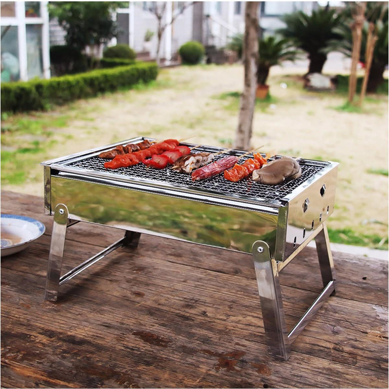 Portable Charcoal Grill Rack Stainless Steel Stove Pan