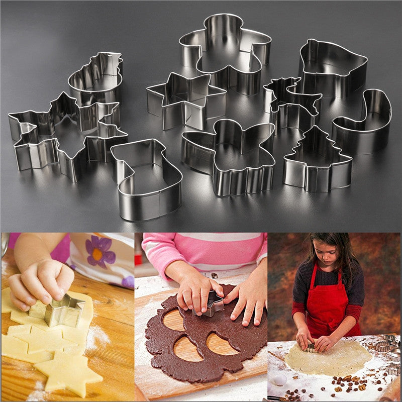 16Pcs Christmas Stainless Steel Cake Biscuit Moulds