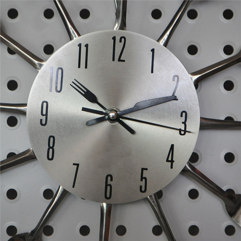 Spoon Fork Wall Clock For Kitchen Decoration - Decoration