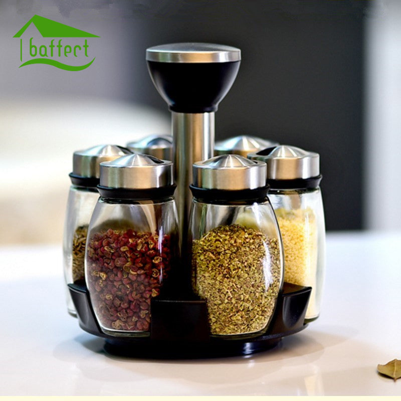 7Pcs/set Rotating Salt And Pepper Shakers - Herb & Spice Tools
