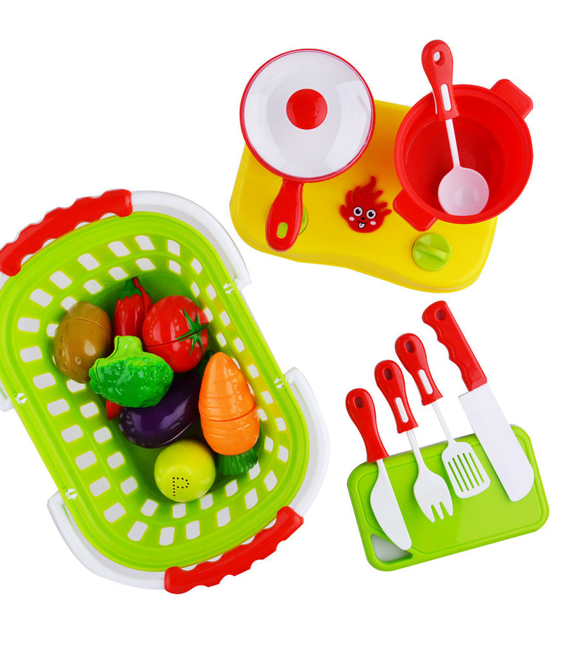 20 Pcs Plastic Cutting Food Set With Basket And Cookware