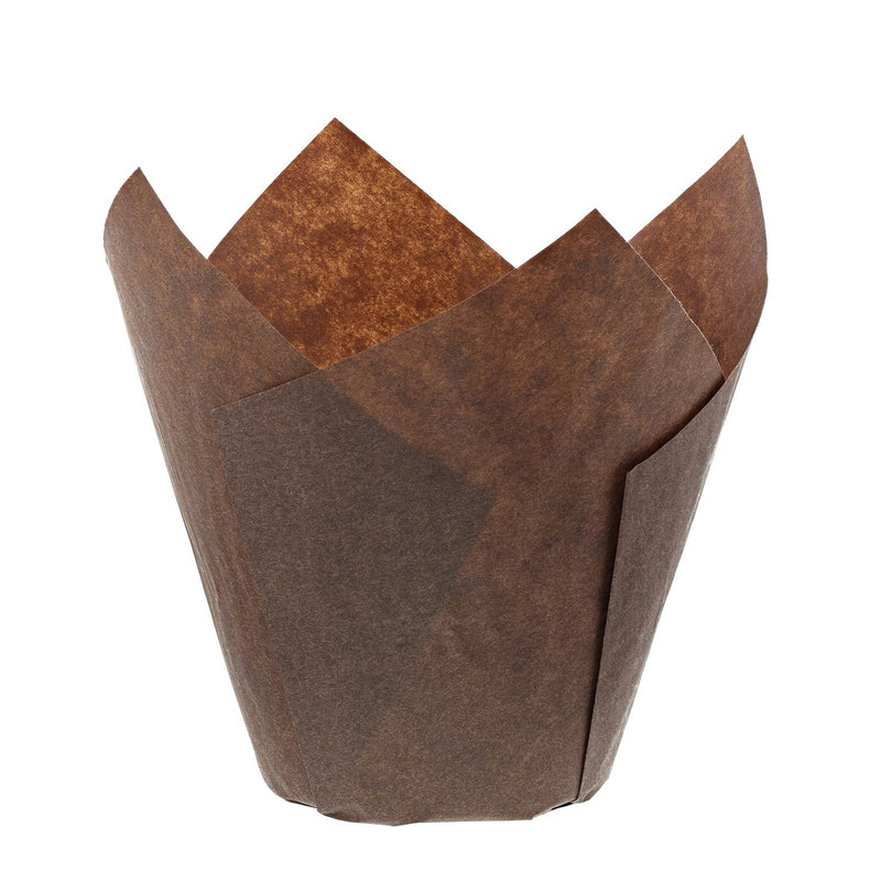 Brown Tulip Style Baking Cups 20 Pcs