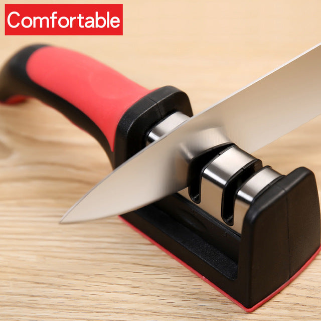 Knife Sharpener 3 Stages Sharpener Knife Grinder - Red