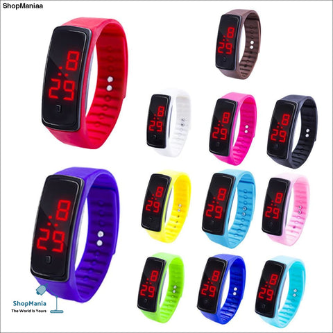 12 Colors New Fashion LED Sports Running Watch Date Rubber Bracelet Digital Wrist Watch Sports Watch Womens Mens Fitness Watch W