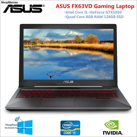 15.6 inch Gaming Laptop ASUS FX63VD Notebook 1920*1080 Intel I5 Quad Core GTX1050 Dedicated Card 8GB RAM 128GB SSD Windows 10 PC