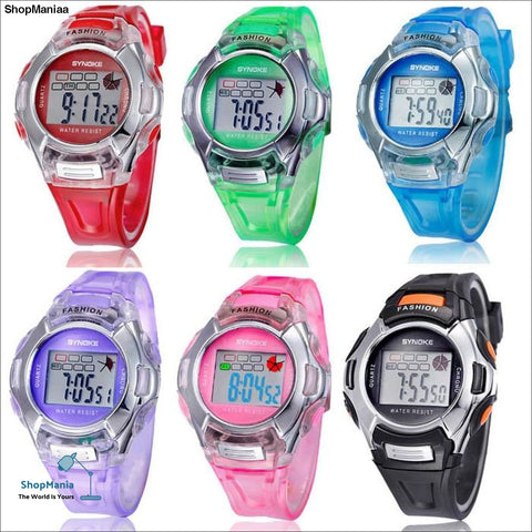 1PC Kids Sports Digital LED Watches Wrist Watch Alarm Date Rubber Wrist
