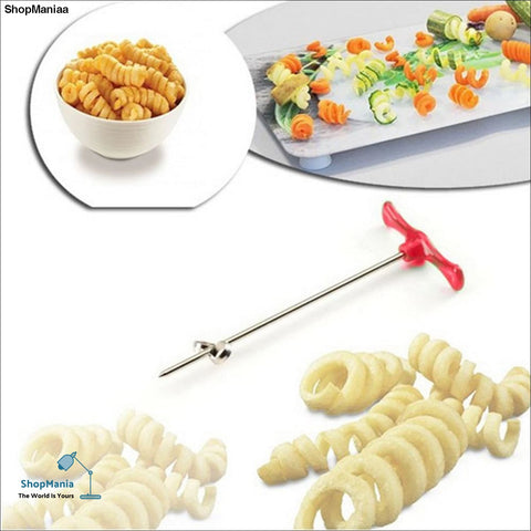 1pcs Potato Slicer Stainless Steel +Plastic Rotating Machine DIY Manual Magic Roller Spiral Slicer Radish Potato Spiral Cutter