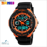 2018 Men Quartz Digital Watch Men Sports Watches Relogio Masculino Skmei S Shock Relojes Led Military Waterproof Wristwatches - Orange -