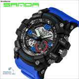 2018 Military Sport Watch Men Top Brand Luxury Famous Electronic LED Digital Wrist Watch Male Clock For Man Relogio Masculino - black blue -