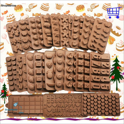 2018 New Silicone Chocolate Mold 28 Shapes 3D Chocolate baking Tools Jelly and Candy Mold DIY Numbers Fruit Kitchen Gadgets Good