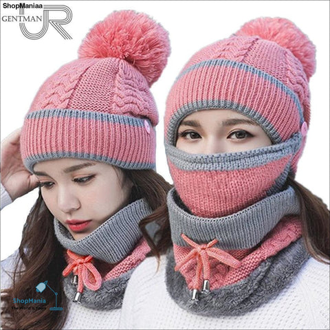3 Pcs/set Winter Hat For Women Mask Collor Face Protrction Knitted Hat Girl Pompoms Balaclava Hat High Quality Warm Fur Hat
