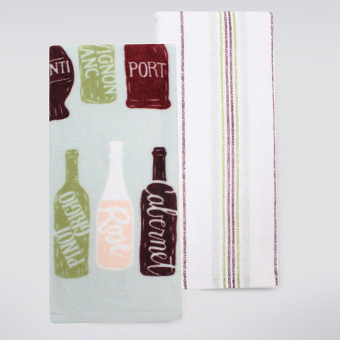 Food Network™ Wine Bottle & Striped Kitchen Towel 2-pack