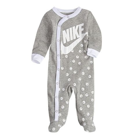 Baby Nike Smiley Logo Gray Footed Coverall