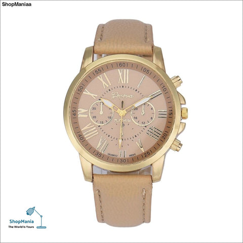 Best Selling New Women's Quartz Watch Fashion Geneva Roman Numerals Clock Leather Hour Wrist watches for Women relogio feminino