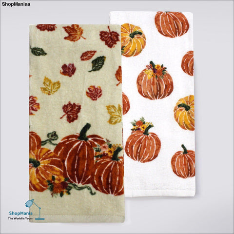 Celebrate Fall Together Pumpkin Kitchen Towel 2-pack