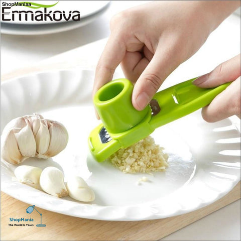 ERMAKOVA ABS Garlic Press Peeler Grater Ginger Garlic Grinding Grater Microplaner Planer Chopper Crush Cutter Slicer