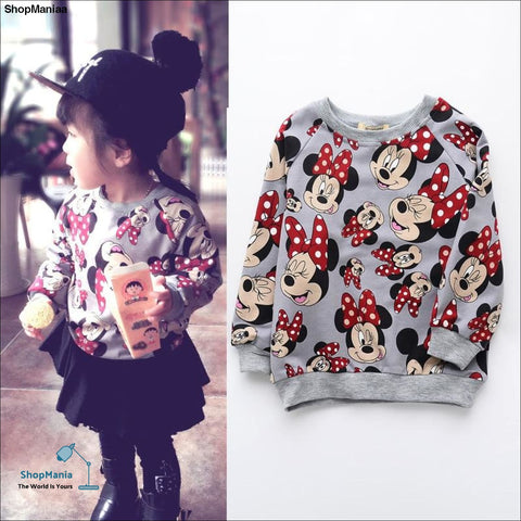 Fashion Kids Girls Shirts Long Sleeve Minnie Cotton Tops Cute Girls Pullover Shirts Kids Children Clothes Autumn Spring Cloth