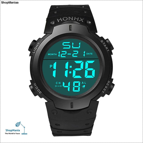 Fashion Waterproof Men's Boy LCD Digital Stopwatch Date Rubber Sport Watch Luminous wrist watch Luxury Brands Sport 2018