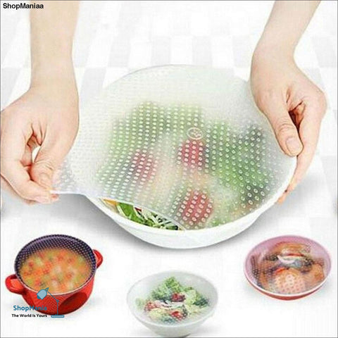 Food Cover Placemat Multifunction Kitchen Helpers Bowl covers Food Preservation Film Wrap Seal 4Pcs/Set Silicone
