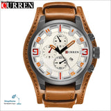 Luxury Brand CURREN Mens Watches Military Sports Men Watch Quartz Date Clock Casual Leather Wrist Watch Relogio Masculino 8225 - brown white