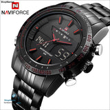 Luxury Brand NAVIFORCE Men Fashion Sport Watches Mens Quartz Digital Analog Clock Man Full Steel Wrist Watch relogio masculino - ShopManiaa