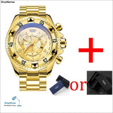 Mens Big Dial Watches Luxury Gold 316L Stainless Steel Quartz Mens Wristwatches Waterproof Calendar Temeite Brand Man Watch - Gold -