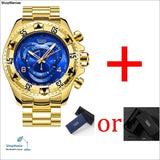 mens Big dial watches luxury gold 316L stainless steel quartz mens wristwatches waterproof calendar temeite brand man watch - gold blue -