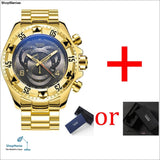 mens Big dial watches luxury gold 316L stainless steel quartz mens wristwatches waterproof calendar temeite brand man watch - gold gray -