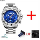 Mens Big Dial Watches Luxury Gold 316L Stainless Steel Quartz Mens Wristwatches Waterproof Calendar Temeite Brand Man Watch - Silver Blue -