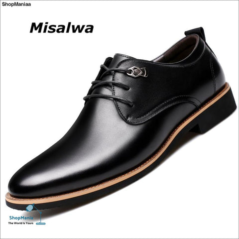Misalwa 2018 Men Dress Shoes Simple Style Quality Men Oxford Shoes Lace-up Brand Men Formal Shoes Men Leather Wedding Shoes