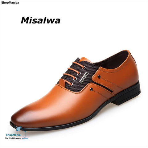 Misalwa Big Size Men Dress Shoes Quality Men Formal Shoes Lace-up Men Business Oxford Shoes Brand Men Wedding Pointy Shoes