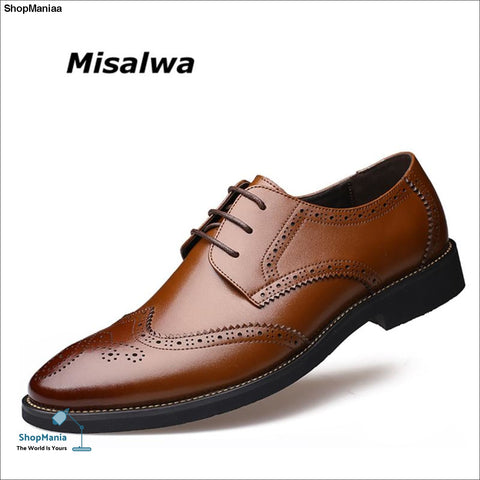 Misalwa New Arrival Italian Men Brogue Shoes Men Formal Dress Oxfords British Men Leather Shoes Dropshipping