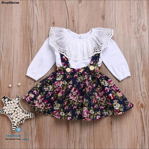 MUQGEW 2Pcs Ruffles Long Sleeve Summer Tops Toddler Infant Baby Girls Fashion Strap Floral Print Skirt O-Neck Shirt Clothes Set