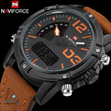 NAVIFORCE Brand Dual Display Watch Men Sport Quartz LED Watches Leather Band Analog Digital Wrist Watches 30M Waterproof Clock - ShopManiaa