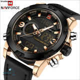 Naviforce Luxury Brand Men Analog Digital Leather Sports Watches Mens Army Military Watch Man Quartz Clock Relogio Masculino - Shopmaniaa